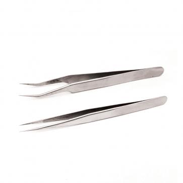 Pince en inox acier SS Tweezers pointe incurvée pointe plate