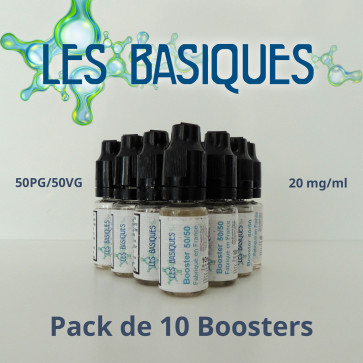 Lot de 10 boosters de nicotine Les Basiques 50PG/50VG -20mg/ml
