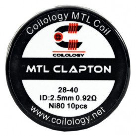 Boite de 10 coils Coilology MTL Clapton-ni80 (28/40) 0.92ohm