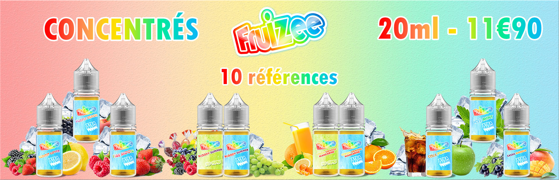 Concentrés fruizee fresh et no fresh sur vapodistri